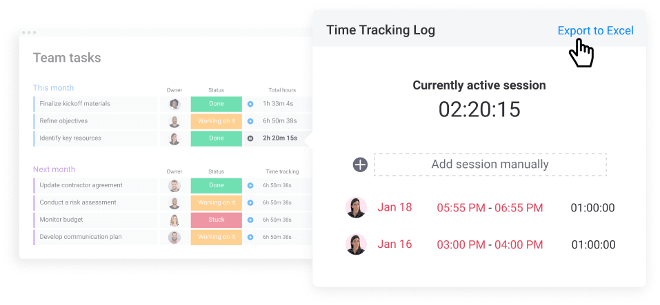 monday.com's time tracking feature example